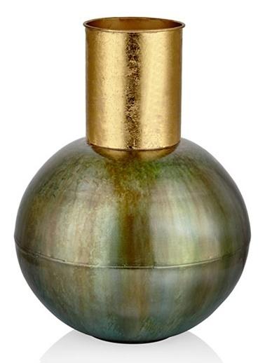Cemile Vazo Yesıl Metal 43 Cm Yeşil